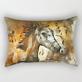 Watercolor Galloping Horses On Raw Canvas | Splatter Painting Rectangular Pillow