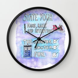 The Doctor's Name, Rank and Intention Wall Clock