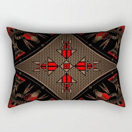 buffalo gathering Red Rectangular Pillow