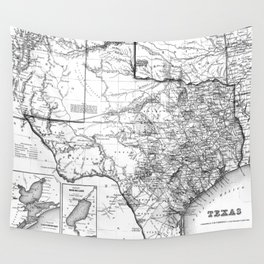 Vintage Map of Texas (1856) BW Wall Tapestry