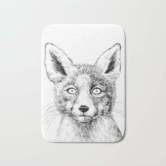 Fox portrait, ink drawing Bath Mat