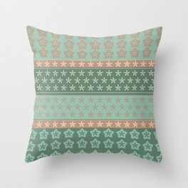 Flowers on stripes shabby chic pattern Throw Pillow