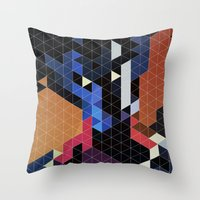 nightcrawler Throw Pillows featuring Geometric Nightcrawler by Head Glitch