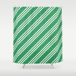 Kelly Green Large Small Small Stripes Shower Curtain