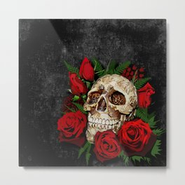 Red Rose Sugar skull Metal Print