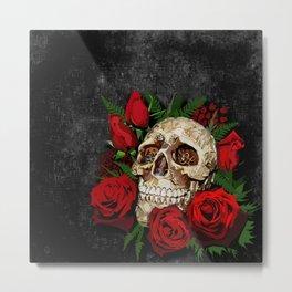 Red Rose Sugar skull Metal Print