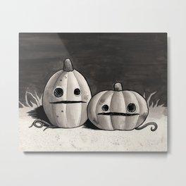 Old Friends - Halloween Pumpkins in Black and Grey Metal Print