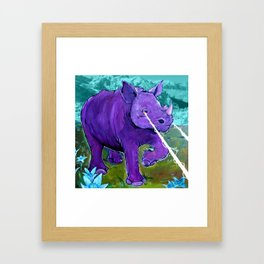 The Hills Are Alive with Laser Rhino - Mountain Rhinoceros and Edelweiss original art Framed Art Print