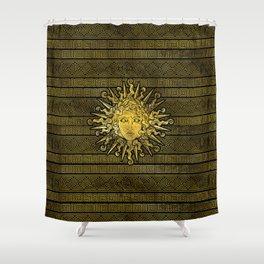 Apollo Sun Symbol on Greek Key Pattern Shower Curtain
