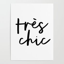 Tres Chic black and white monochrome typography poster design home wall bedroom decor canvas Poster