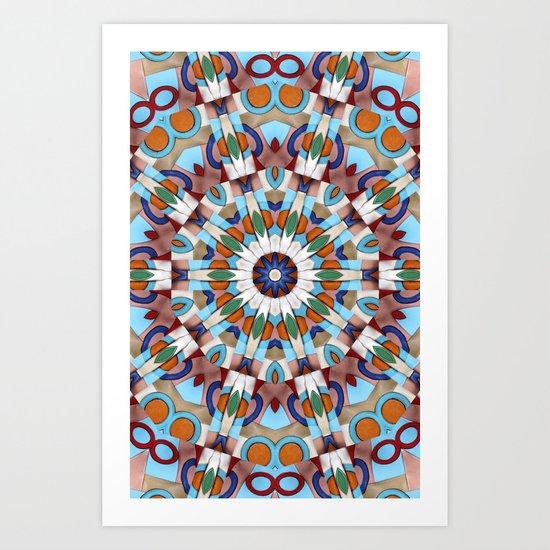 Retro Indian Leather Mandala Art Print