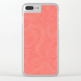 Topographic Map 04 - Living Coral Clear iPhone Case
