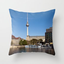 Autumnal Feeling at the River Spree in Berlin Throw Pillow