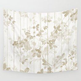 Rustic vintage white wood bohemian brown floral Wall Tapestry