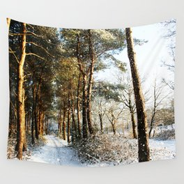 Forest Snow Scene Wall Tapestry