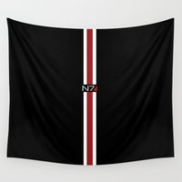 mass effect Wall Tapestries featuring Mass Effect | Commander Shepard  by ~ isa ~
