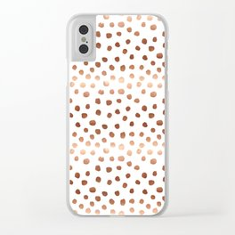 Rose Gold copper sparkle modern dots polka dots rosegold trendy pattern cell phone accessories Clear iPhone Case
