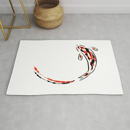 Black and Red Koi Fish Rug
