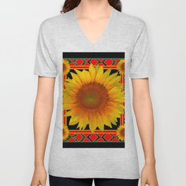 RED-TEAL BLACK  DECO YELLOW SUNFLOWERS Unisex V-Neck