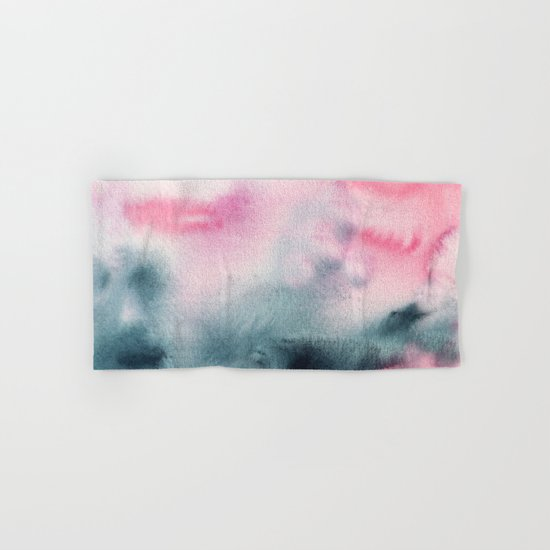 When indigo meets pink || watercolor Hand & Bath Towel