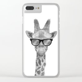 Hipster Giraffe Clear iPhone Case