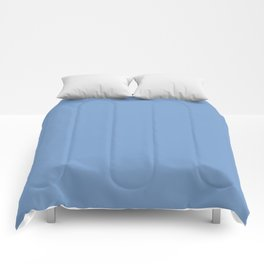 Dark Chalky Pastel Blue Solid Color Comforters