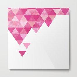 Geo Triangles | hot pink fuchsia Metal Print