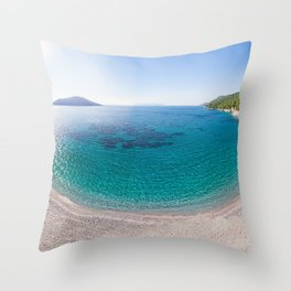 The beach Kastani of Skopelos island from drone, Greece Throw Pillow