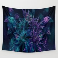 outer space Wall Tapestries featuring Outer Space Flowers.. by Cherie DeBevoise