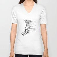 shopping V-neck T-shirts featuring Shopping Cart by Brontosaurus
