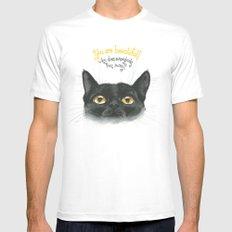 Black - Cat Mens Fitted Tee White MEDIUM