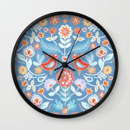 Happy Folk Summer Floral on Light Blue Wall Clock