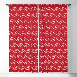 Wave Pattern | Waves | Nautical Patterns | Red and White | Blackout Curtain