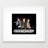 supernatural Framed Art Prints featuring Supernatural by KewlZidane