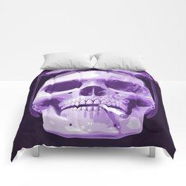 Skull Smoking Cigarette Purple Comforters