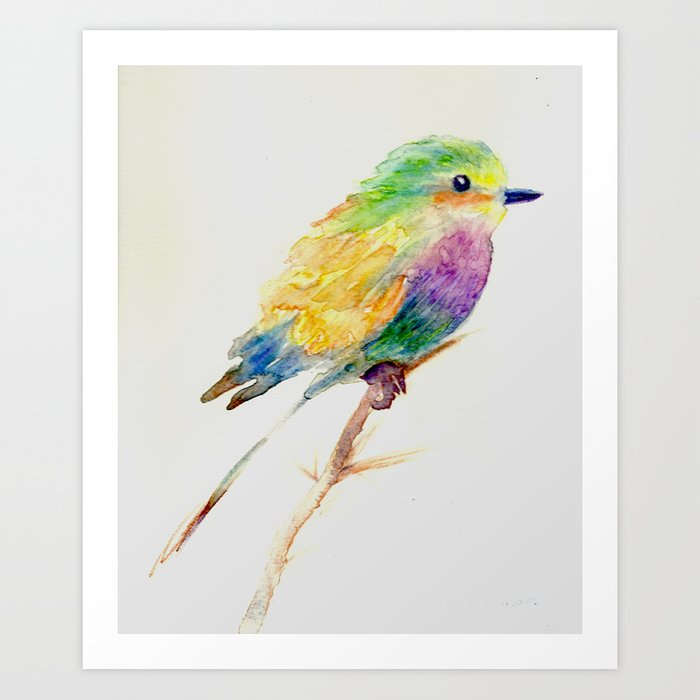 Colorful Bird Of Happiness Original Reserved For My Mom Art Print By Sandsaltmoon