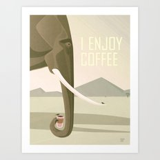 Elephant Enjoys Coffee Art Print