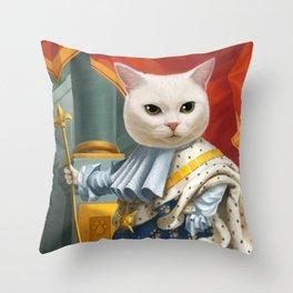Cat King Throw Pillow