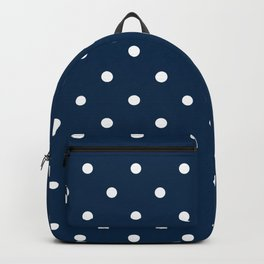 Navy Blue & White Polka Dots Backpack
