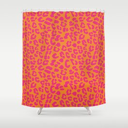 80s Leopard Print in Orange and Hot Pink Shower Curtain