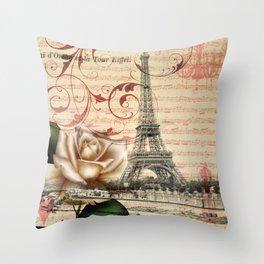vintage chandelier white rose music notes Paris eiffel tower Throw Pillow