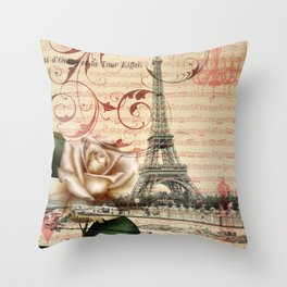 vintage chandelier white rose music notes Paris eiffel tower Throw Pillow