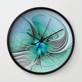 Abstract With Blue 2, Fractal Art Wall Clock