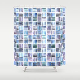 Lines in Blue Shower Curtain