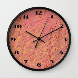 Stylish Chic Soft Pink Golden Tangerine Eyelet Crackled Pattern Wall Clock