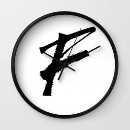 Letter F Ink Monogram Wall Clock