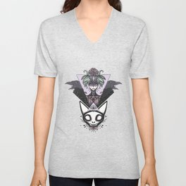 Witch, Crows, Cat Skull, And All Seeing Eye Of Providence Unisex V-Neck