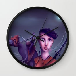 The Adventures Of Punk Sword Girl And The Dragon Rabbit Rider Wall Clock
