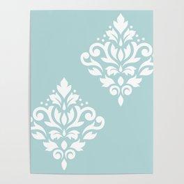 Scoll Damask Art I White on Duck Egg Blue Poster