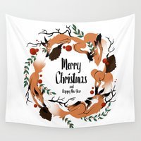 merry christmas Wall Tapestries featuring Merry Christmas by Anya Volk